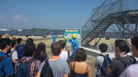 The group of students and professors during the visit of the site producing photovoltaic energy